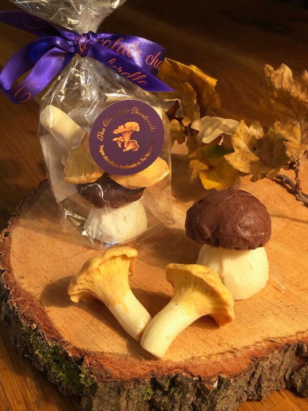Three chocolate mushrooms in biogradable gift bag